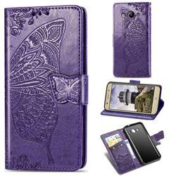 Embossing Mandala Flower Butterfly Leather Wallet Case for Huawei Y3 (2017) - Dark Purple