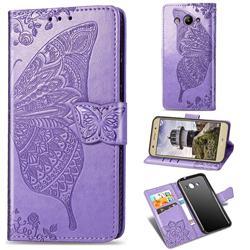 Embossing Mandala Flower Butterfly Leather Wallet Case for Huawei Y3 (2017) - Light Purple