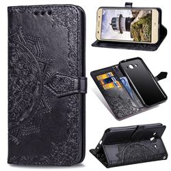 Embossing Imprint Mandala Flower Leather Wallet Case for Huawei Y3 (2017) - Black