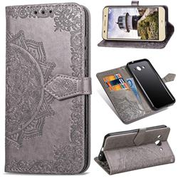 Embossing Imprint Mandala Flower Leather Wallet Case for Huawei Y3 (2017) - Gray