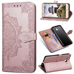 Embossing Imprint Mandala Flower Leather Wallet Case for Huawei Y3 (2017) - Rose Gold