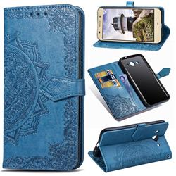Embossing Imprint Mandala Flower Leather Wallet Case for Huawei Y3 (2017) - Blue