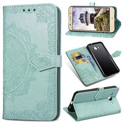 Embossing Imprint Mandala Flower Leather Wallet Case for Huawei Y3 (2017) - Green