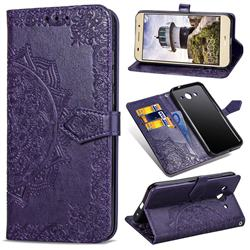 Embossing Imprint Mandala Flower Leather Wallet Case for Huawei Y3 (2017) - Purple