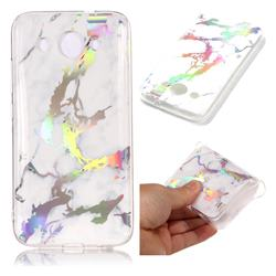 White Marble Pattern Bright Color Laser Soft TPU Case for Huawei Y3 (2018)