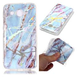 Light Blue Marble Pattern Bright Color Laser Soft TPU Case for Huawei Y3 (2018)