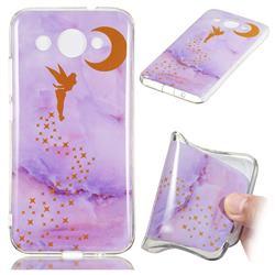 Elf Purple Soft TPU Marble Pattern Phone Case for Huawei Y3 (2018)