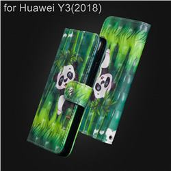 Climbing Bamboo Panda 3D Painted Leather Wallet Case for Huawei Y3 (2018)