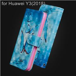 Blue Sea Butterflies 3D Painted Leather Wallet Case for Huawei Y3 (2018)