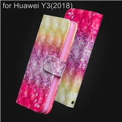 Gradient Rainbow 3D Painted Leather Wallet Case for Huawei Y3 (2018)