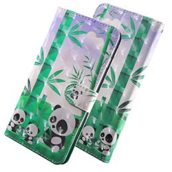 Eating Bamboo Pandas 3D Painted Leather Wallet Case for Huawei Y3 (2018)