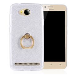 Luxury Soft TPU Glitter Back Ring Cover with 360 Rotate Finger Holder Buckle for Huawei Y3II Y3 2 Honor Bee 2 - White