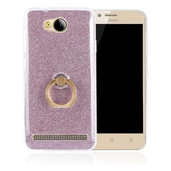 Luxury Soft TPU Glitter Back Ring Cover with 360 Rotate Finger Holder Buckle for Huawei Y3II Y3 2 Honor Bee 2 - Pink