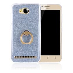 Luxury Soft TPU Glitter Back Ring Cover with 360 Rotate Finger Holder Buckle for Huawei Y3II Y3 2 Honor Bee 2 - Blue