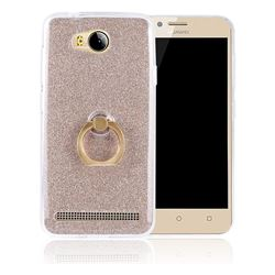 Luxury Soft TPU Glitter Back Ring Cover with 360 Rotate Finger Holder Buckle for Huawei Y3II Y3 2 Honor Bee 2 - Golden