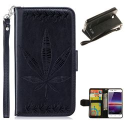 Intricate Embossing Maple Leather Wallet Case for Huawei Y3II Y3 2 Honor Bee 2 - Black