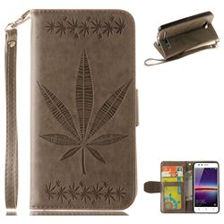 Intricate Embossing Maple Leather Wallet Case for Huawei Y3II Y3 2 Honor Bee 2 - Gray