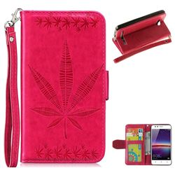 Intricate Embossing Maple Leather Wallet Case for Huawei Y3II Y3 2 Honor Bee 2 - Rose