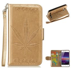 Intricate Embossing Maple Leather Wallet Case for Huawei Y3II Y3 2 Honor Bee 2 - Champagne