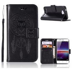 Intricate Embossing Owl Campanula Leather Wallet Case for Huawei Y3II Y3 2 Honor Bee 2 - Black