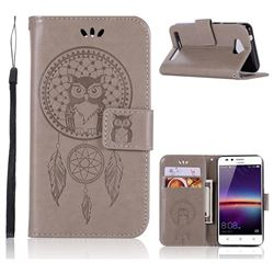Intricate Embossing Owl Campanula Leather Wallet Case for Huawei Y3II Y3 2 Honor Bee 2 - Grey