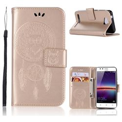 Intricate Embossing Owl Campanula Leather Wallet Case for Huawei Y3II Y3 2 Honor Bee 2 - Champagne