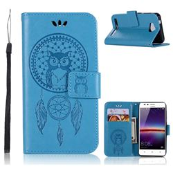 Intricate Embossing Owl Campanula Leather Wallet Case for Huawei Y3II Y3 2 Honor Bee 2 - Blue