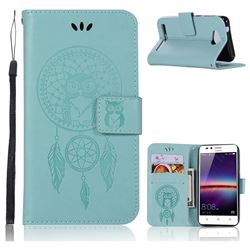 Intricate Embossing Owl Campanula Leather Wallet Case for Huawei Y3II Y3 2 Honor Bee 2 - Green