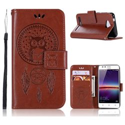 Intricate Embossing Owl Campanula Leather Wallet Case for Huawei Y3II Y3 2 Honor Bee 2 - Brown
