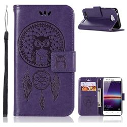 Intricate Embossing Owl Campanula Leather Wallet Case for Huawei Y3II Y3 2 Honor Bee 2 - Purple