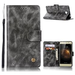 Luxury Retro Leather Wallet Case for Huawei Y3II Y3 2 Honor Bee 2 - Gray