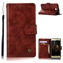Luxury Retro Leather Wallet Case for Huawei Y3II Y3 2 Honor Bee 2 - Wine Red