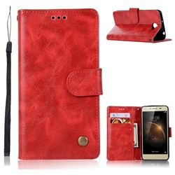 Luxury Retro Leather Wallet Case for Huawei Y3II Y3 2 Honor Bee 2 - Red