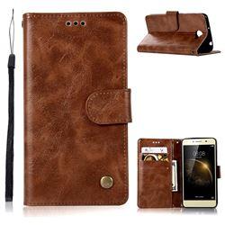 Luxury Retro Leather Wallet Case for Huawei Y3II Y3 2 Honor Bee 2 - Brown
