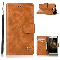 Luxury Retro Leather Wallet Case for Huawei Y3II Y3 2 Honor Bee 2 - Golden