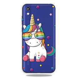Glasses Unicorn Clear Varnish Soft Phone Back Cover for Huawei Y5 (2019)