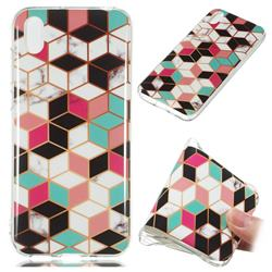 Three-dimensional Square Soft TPU Marble Pattern Phone Case for Huawei Y5 (2019)