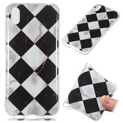 Black and White Matching Soft TPU Marble Pattern Phone Case for Huawei Y5 (2019)