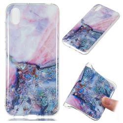 Purple Amber Soft TPU Marble Pattern Phone Case for Huawei Y5 (2019)