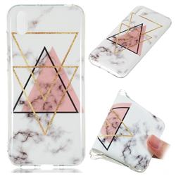 Inverted Triangle Powder Soft TPU Marble Pattern Phone Case for Huawei Y5 (2019)