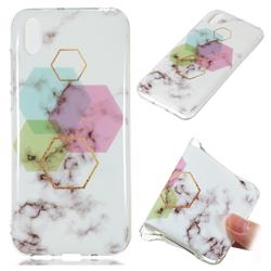Hexagonal Soft TPU Marble Pattern Phone Case for Huawei Y5 (2019)