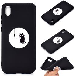 Fish Fishing Cat Chalk Drawing Matte Black TPU Phone Cover for Huawei Y5 (2019)