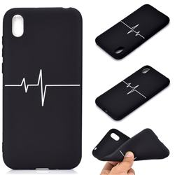 Electrocardiogram Chalk Drawing Matte Black TPU Phone Cover for Huawei Y5 (2019)