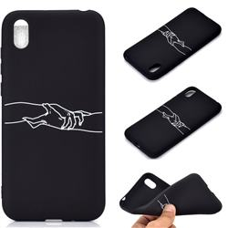 Handshake Chalk Drawing Matte Black TPU Phone Cover for Huawei Y5 (2019)