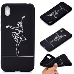 Dancer Chalk Drawing Matte Black TPU Phone Cover for Huawei Y5 (2019)
