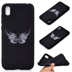 Wings Chalk Drawing Matte Black TPU Phone Cover for Huawei Y5 (2019)