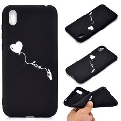 Heart Balloon Chalk Drawing Matte Black TPU Phone Cover for Huawei Y5 (2019)