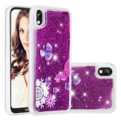 Purple Flower Butterfly Dynamic Liquid Glitter Quicksand Soft TPU Case for Huawei Y5 (2019)