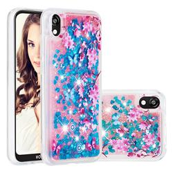 Blue Plum Blossom Dynamic Liquid Glitter Quicksand Soft TPU Case for Huawei Y5 (2019)