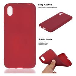 Soft Matte Silicone Phone Cover for Huawei Y5 (2019) - Wine Red